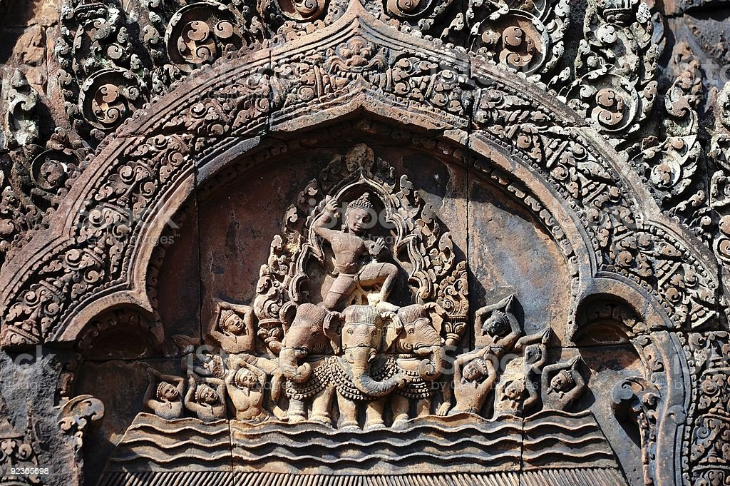 Carving of mandapa at Banteay Sreiz, Cambodia royalty-free stock photo