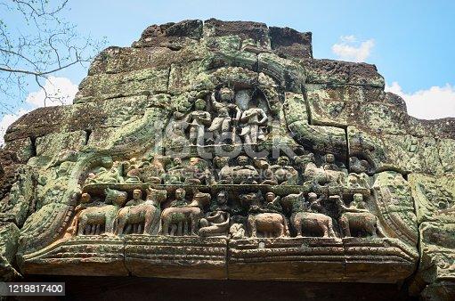 478956028 istock photo Carving on lintel in Preah Khan ancient temple, Angkor Wat, Siem Reap, Cambodia 1219817400