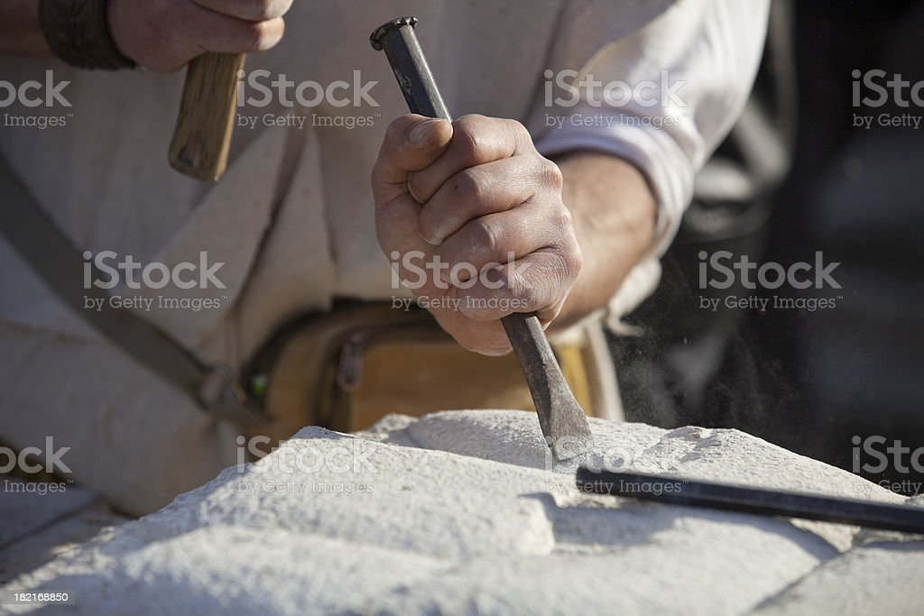 Carving stone stock photo