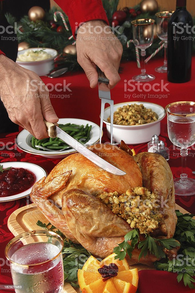 Carving the Christmas Turkey stock photo