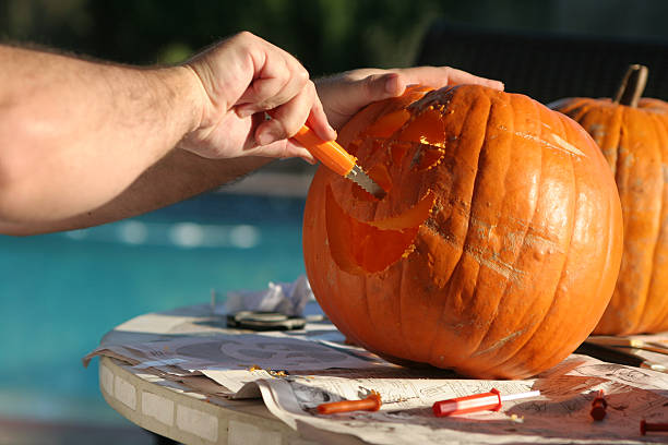 Carving the pumpkins  bunnylady stock pictures, royalty-free photos & images