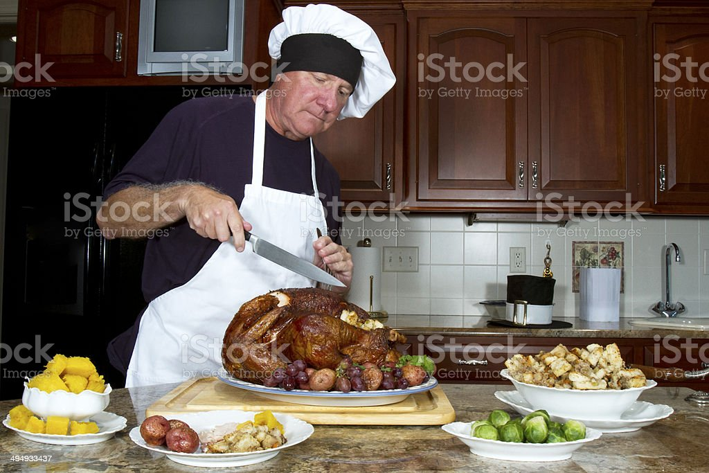 Carving the Turkey royalty-free stock photo