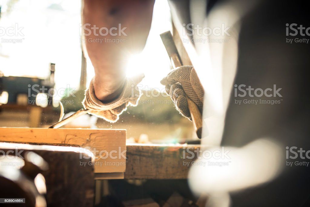 Carving wood stock photo