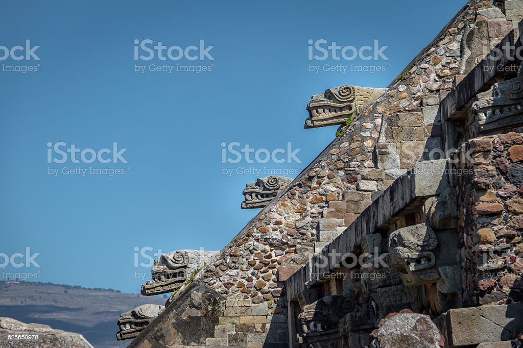Carvings at Quetzalcoatl Pyramid - Teotihuacan Ruins, Mexico City, Mexico stock photo