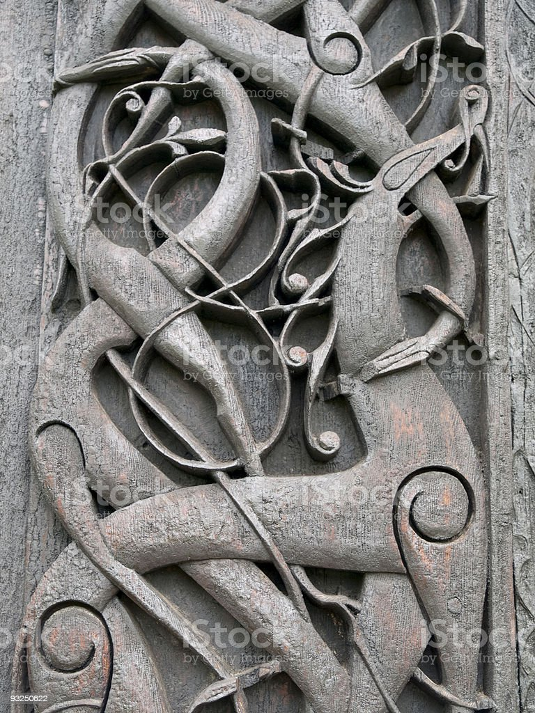 Carvings from Urnes viking Church royalty-free stock photo