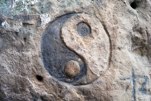 carvings on rocks in Bubnyshche stock photo