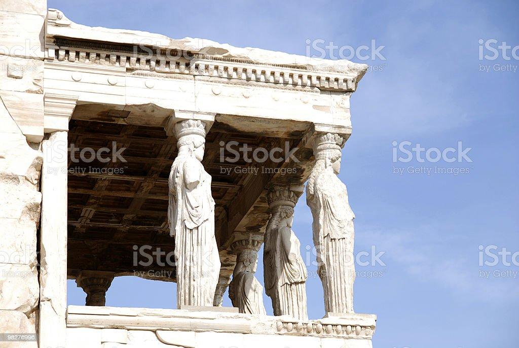 Caryatid Columns from The Erechtheum, Acropolis, Athens royalty-free stock photo
