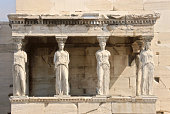 Caryatid is the famous Greece Landmark in Acropolis, Athens, Greece.
