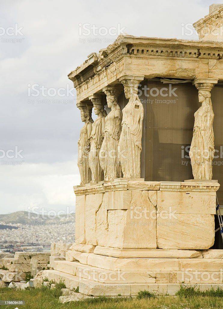 Caryatid Porch of Erechtheum at Akropolis. Athens, Greece stock photo