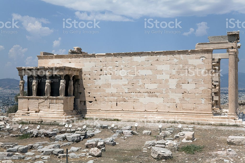 Caryatid Porch of the Erechtheion, Athens, 421–407 BC royalty-free stock photo