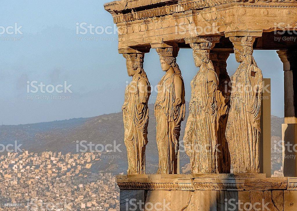 Caryatides, Acropolis of Athens stock photo