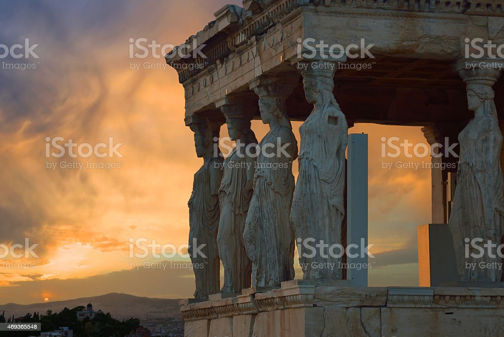 caryatids Acropolis Athens stock photo