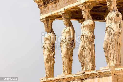 Figures of the Caryatid Porch of the Erechtheion on the Acropolis at Athens  Greece  Caryatides, Erechtheion temple Acropolis