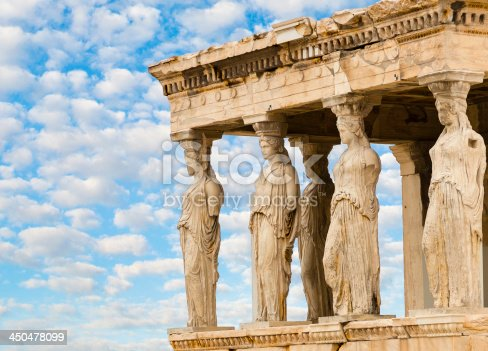 The Caryatids female statues in the Erechteion temple ruins, Acropolis, Athens, Greece