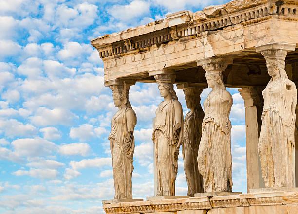 Caryatids Erechteion Acropolis Athens Greece stock photo
