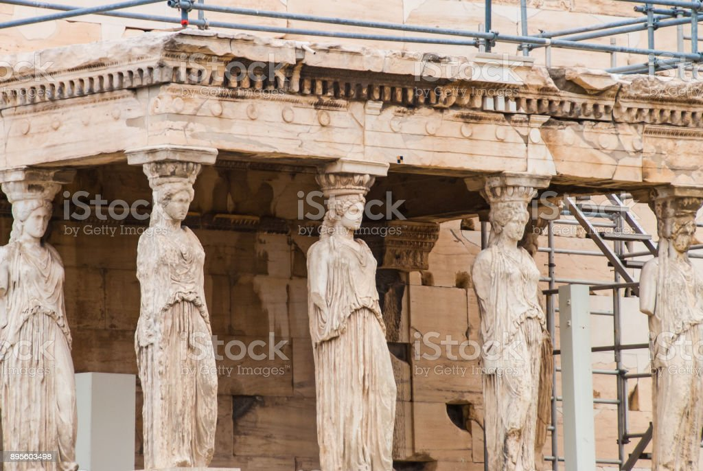 Caryatids from Aphrodite temple on Parthenon, Athens Greece stock photo