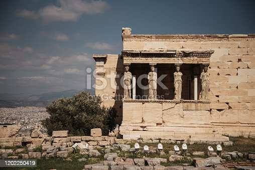 Caryatids in the Erechtheum temple in Athens Acropolis, Greece