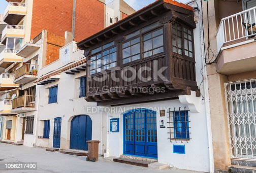 Calafell, Spain - August 18, 2014: Entrance to Casa Barral Museum, established in old fishermans shop where the poet, writer and politician Carlos Barral lived