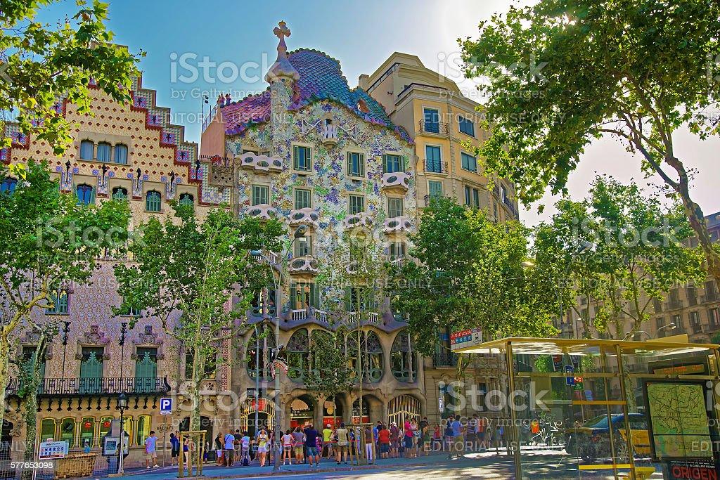 Casa Batllo building in Barcelona of Spain stock photo