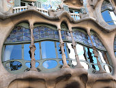 Casa Batllo detail. Famous creation by Gaudi (1904) for the industrialist Josep Batllo. One of the most popular touristic landmarks of Barcelona.