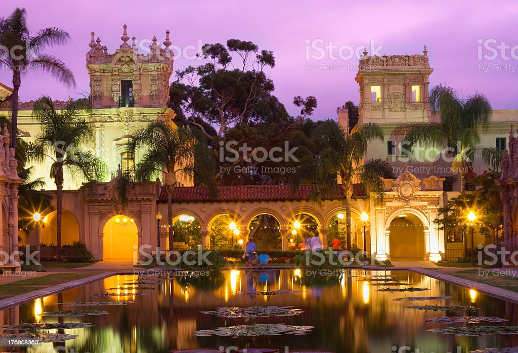 Casa De Balboa at dusk, San Diego royalty-free stock photo