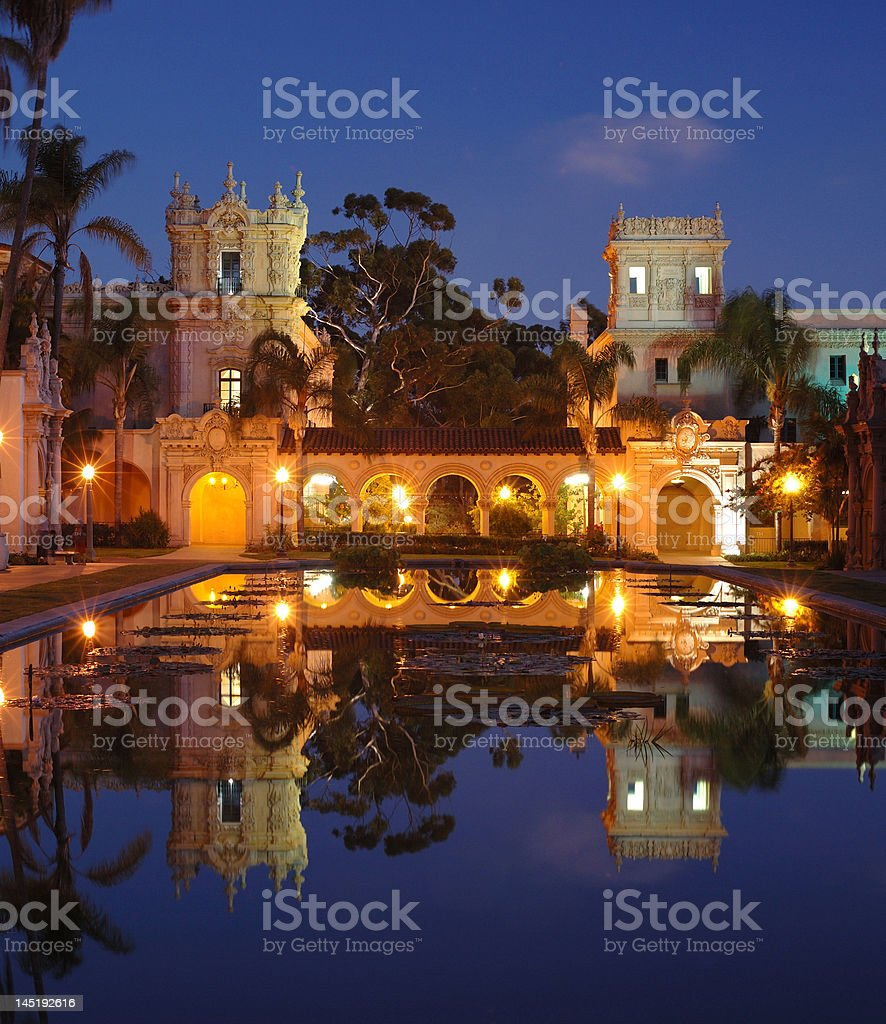 Casa De Balboa at night royalty-free stock photo