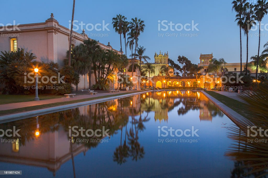Casa De Balboa at sunset, Balboa Park, San Diego USA stock photo