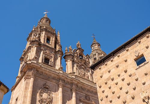 Casa De La Conchas And Le Clericia Church In Salamanca Spain Stock Photo - Download Image Now