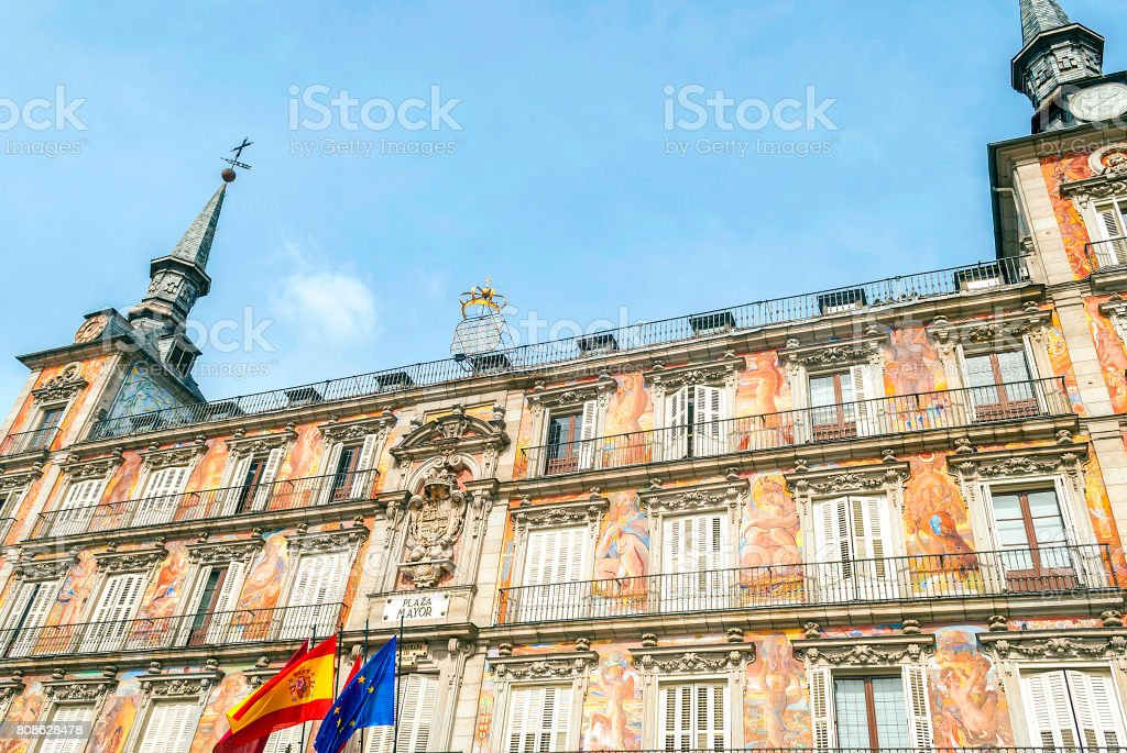 Casa de la Panaderia on Plaza Mayor in Madrid stock photo