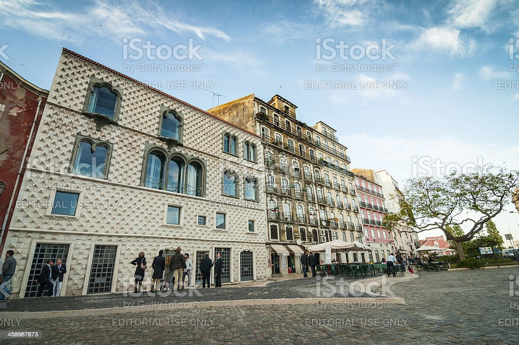 Casa dos Bicos, House of Spikes in Alfama, Lisbon, Portugal royalty-free stock photo