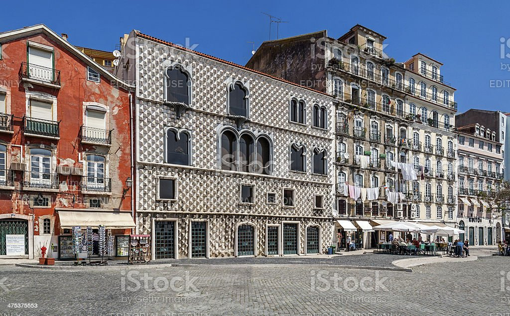 Casa dos Bicos (House of Spike), Lisbon royalty-free stock photo