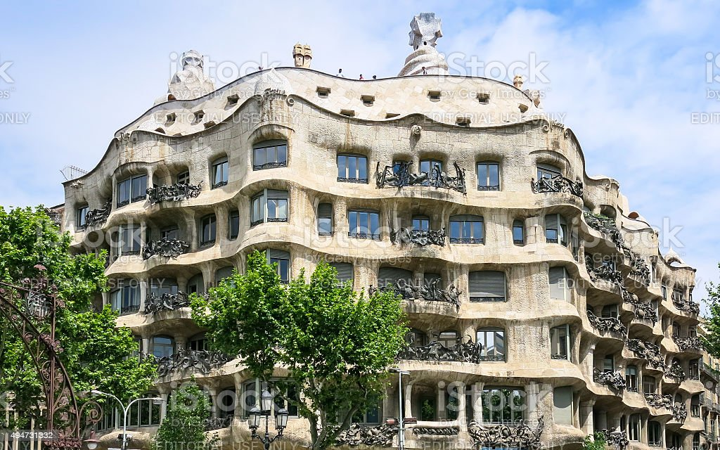 Casa Mila by Gaudi in Barcelona stock photo