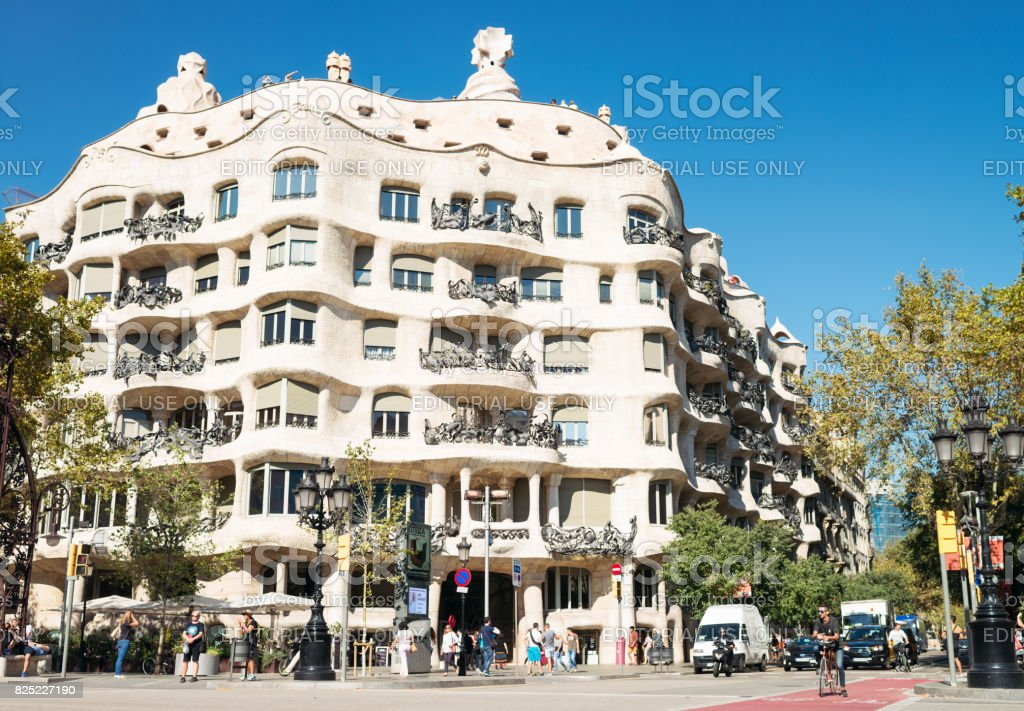 Casa Mila in Barcelona - apartment building designed by Antoni Gaudí stock photo