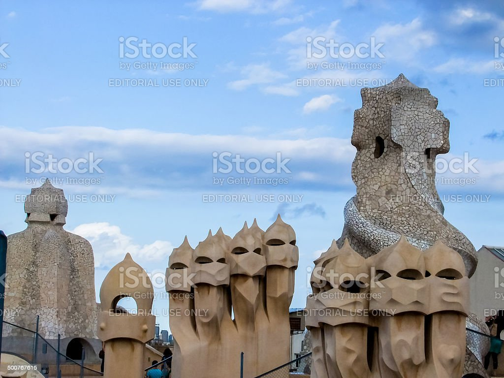 Casa Mila in Barcelona stock photo