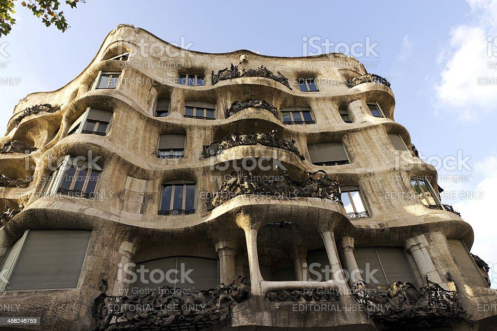 Casa Mila in Barcelona, Spain royalty-free stock photo