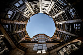 Barcelona, Spain - August 20, 2015: Roof top picture from Casa Mila taken during the day.
