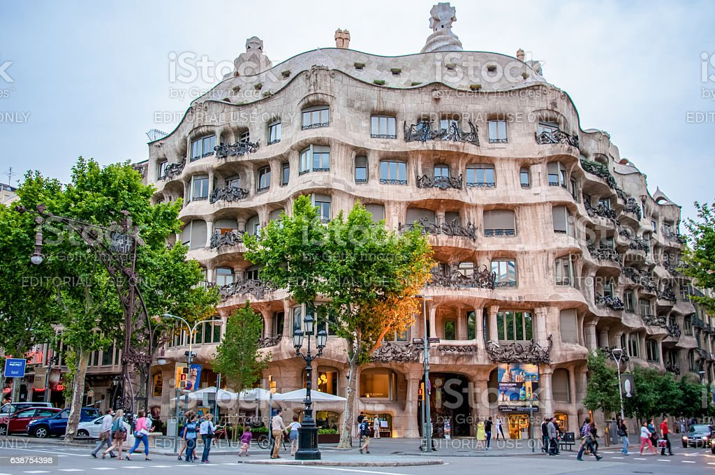 Casa Mila in Barcelona, Spain stock photo