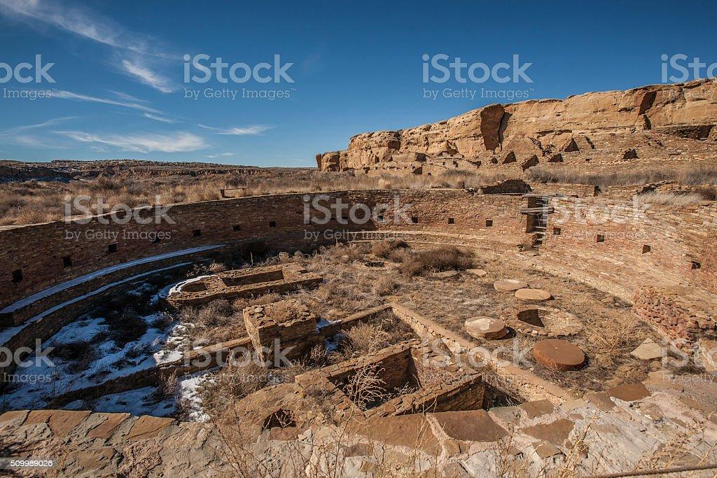 Casa Rinconada the Great Kiva at the Chaco Canyon stock photo