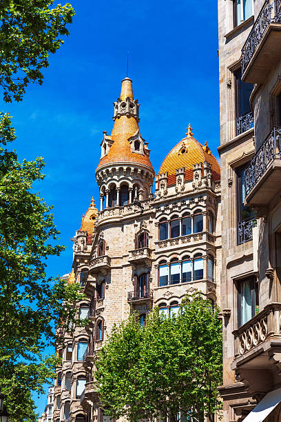 casa Rocamora or Lleo Morera Barcelona, Spain - April 18, 2016: facade of casa Rocamora or Casa Lleo Morera gracia baur stock pictures, royalty-free photos & images