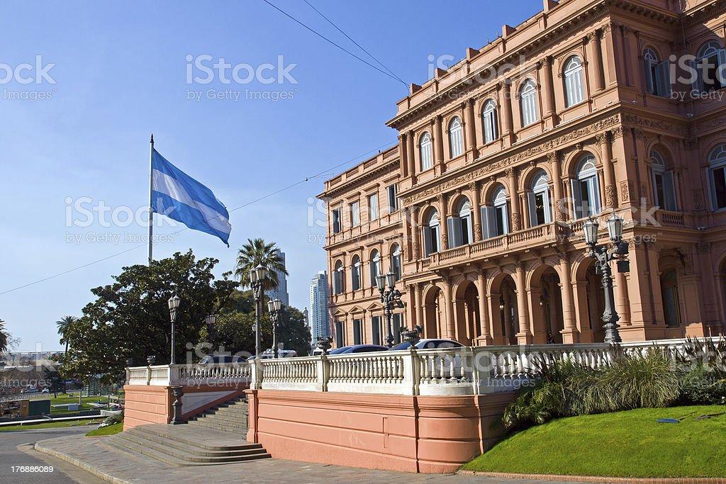 Casa Rosada and flag in Argentina stock photo