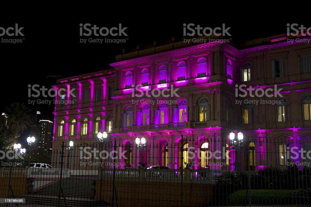 Casa Rosada (Pink House) by night stock photo