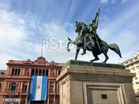 Buenos Aires, Argentina - July 14, 2019: Hanging argentinian flag from the Casa Rosada balcony. It is there for the celebration of the independence day which is the 9th of july