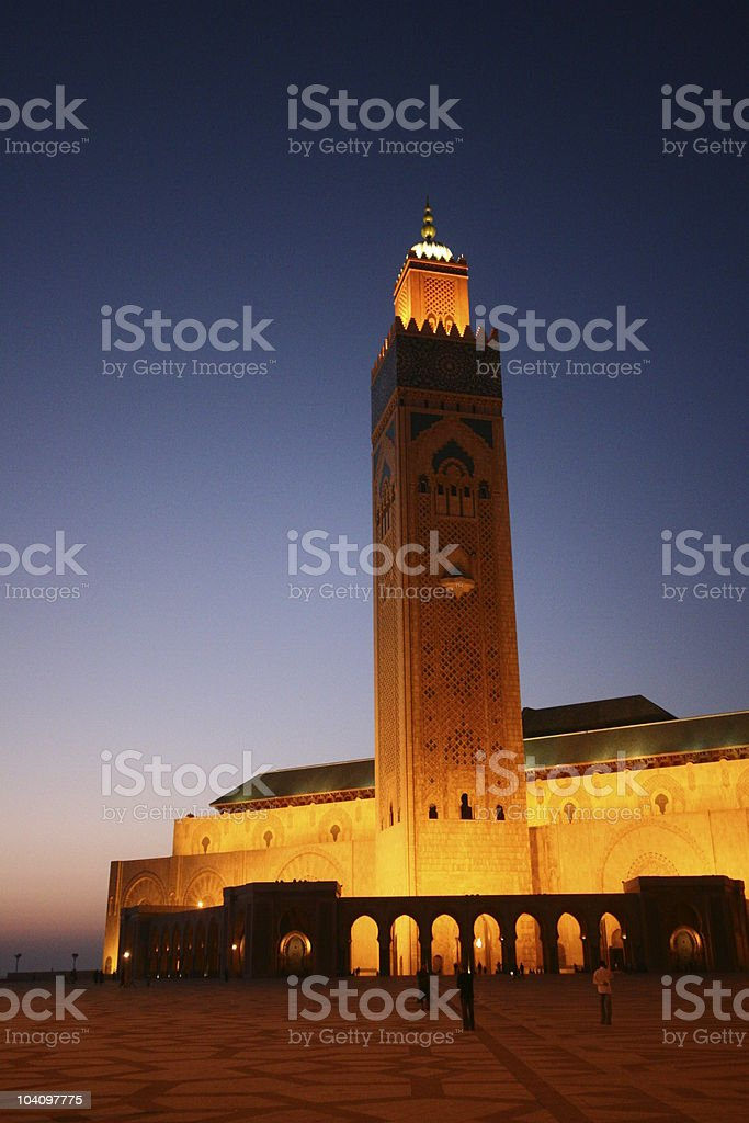 Casablanca grand mosque at night #2 royalty-free stock photo