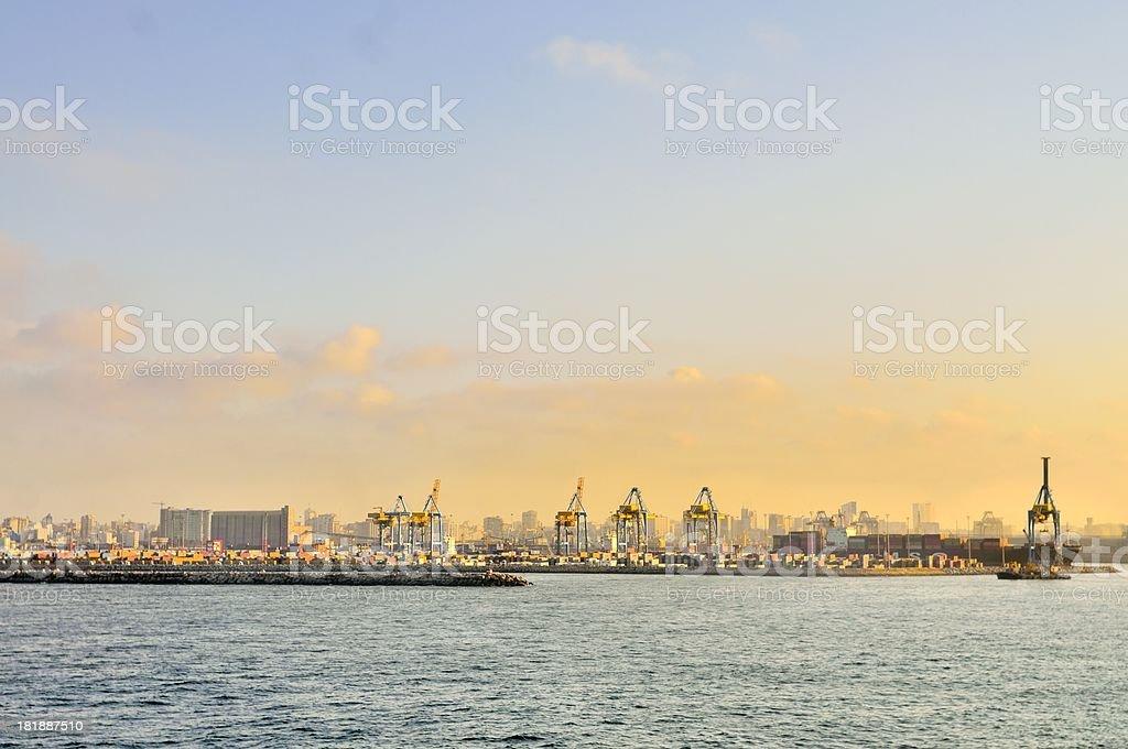 Casablanca Harbor Skyline At Sundown royalty-free stock photo