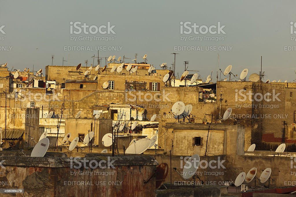 Casablanca Morocco roof tops loaded with satellite dishes royalty-free stock photo