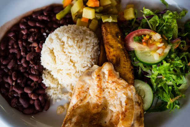 casados, traditional rice and beans meal in costa rica - caribbean food stock photos and pictures