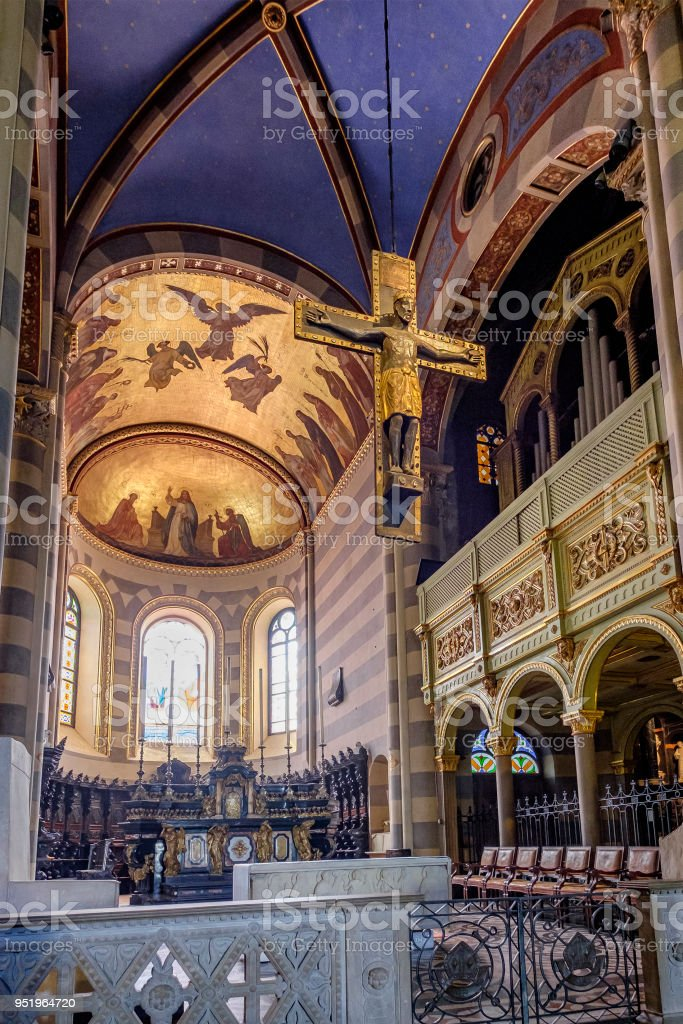Casale Monferrato Cathedral, the oldest monument of the city of Casale Monferrato, Piedmont, northern Italy stock photo