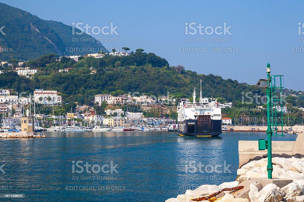 Casamicciola Terme port, Ischia island, ferry stock photo