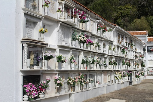 Casares, Spain. 9,2,2018. The cemetery in Casares located above the town near the castle. The cemetery is cut into the hillside  and is in a beautiful, peaceful location.