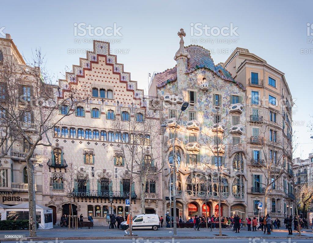 Casas Amatller (left)  and Batllo in Barcelona stock photo